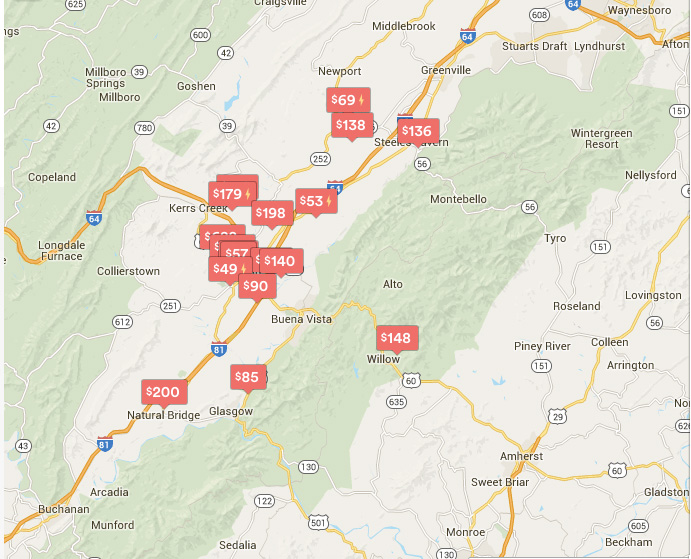 This map shows all of the Airbnb listings in Rockbridge County for the week of August 8-12