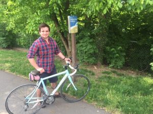 Patrick McCarron rents a Spinlister bike and takes it for a ride on the Roanoke River Greenway.